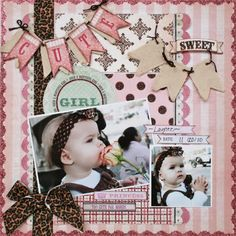 "Darling Pastel Pink ""Such A Beautiful Girl"" Scrapping Page...with leopard trim bow and banners. Picture only for inspiration."