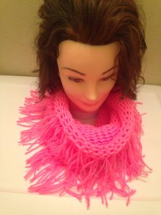 Pink Fringy Infinity Scarf $20.00, Available to order in any color, please email homemadehatsandmore@gmail.com or go to my Facebook page Homemade Hats and More By Kalli, Free Shipping in the US