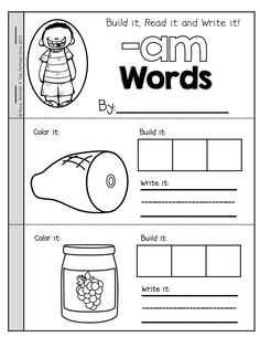 Worksheets Am Family Worksheets 1000 images about word families on pinterest cvc family booklets cut out the letter tiles and build read