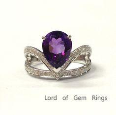$599 Pear Amethyst Engagement Ring Pave Diamond Wedding 14K White Gold 7x9mm