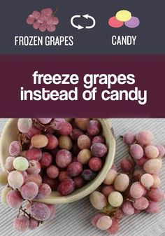 Snack on frozen grapes instead of candy or cookies. – Chloe Fletcher Snack on frozen grapes instead of candy or cookies. Frozen grapes (or blueberries) are amazing on a hot easy ways to eat healthier Grape Recipes, Real Food Recipes, Yummy Food, Healthy Recipes, Yummy Snacks, Snack Recipes, Snack Hacks, Healthy Tips, Dinner Recipes