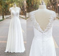 Summer Beach Lace Wedding Dress Handmade Chiffon V-Back Wedding Gown/Ivory Lace Bridal Dress, Empire Pregnant Plus Size Wedding Dress  Rush order link : https://www.etsy.com/listing/204394416/rush-order-for-the-custom-made-dresses?  Fabic/color sample link: https://www.etsy.com/listing/202864583/color-sampleschiffon-fabric-swatch?ref=shop_home_active_1  Size/Measurements Chart link : https://www.etsy.com/listing/209673829/color-sampleschiffon-fabric-swatch?ref=shop_home_active_1…