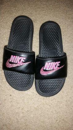 86dc04bcb872d0 Blinged out nike slides. Shoes Flats Sandals