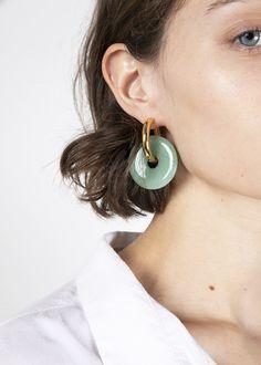 c4b8edc3e Jade Disc Hoop Earrings from Timeless Pearly – The Frankie Shop Jade  Earrings, Hoop Earrings