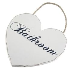 Vintage Collection Hanging Heart Bathroom Sign