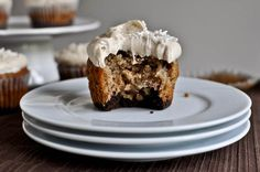 brownie banana bread cupcakes with brown sugar frosting
