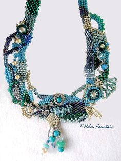 Helen Fountain Beadweaver: AQUA & TEAL FREEFORM collection of Lisa Corbeil El...
