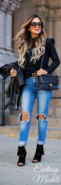 Fall Black // Fashion Look by Mia Mia Mine