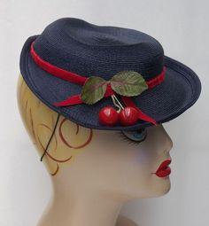 1930s Navy Horsehair Lindner Davis Tilt Top Hat Carved Bakelite Cherries. Epic vintage hat love!!! <3 #vintage #1930s #hat #cherries