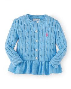 Cable Cotton Peplum Cardigan - Baby Girl Sweaters - RalphLauren.com