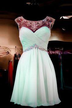Charming Prom Dress,Chiffon Prom Dress,Short Prom Dress,Mint Green