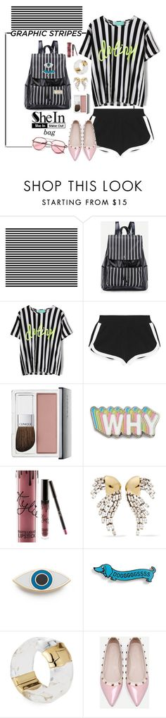 """Stripes Backpack!"" by elafashionable ❤ liked on Polyvore featuring Barneys New York, Fendi, Clinique, Big Bud Press, Kylie Cosmetics, Yves Saint Laurent, Georgia Perry, Alexis Bittar, WithChic and shein"