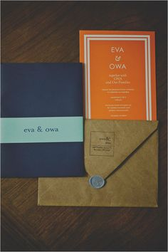 modern wedding invites. invite in navy, cover in yellow!