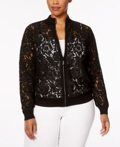 Belldini Plus Size Lace Bomber Jacket - Black Black Bomber Jacket Outfit, Plus Size Bomber Jacket, Floral Bomber Jacket, Lace Jacket, Plus Size Outerwear, Formal Dresses For Women, Blouses For Women, Plus Size Outfits, Clothes