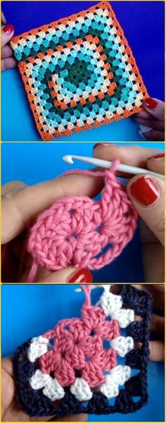 Crochet Squares Crochet Irregular Granny Square Free Pattern Video - Crochet Granny Square Free Patterns - Crochet Granny Square Free Patterns: Crochet Animal, Flower, Heart, Granny Square with Free Patterns and video for beginner and seasoned crocheters. Crochet Motifs, Crochet Animal Patterns, Granny Square Crochet Pattern, Crochet Squares, Crochet Blanket Patterns, Free Crochet, Knitting Patterns, Crochet Animals, Crochet Pillow