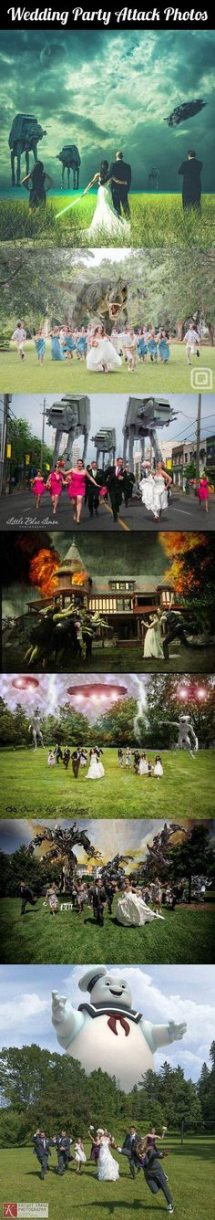 Wedding Party Attack Photos… - One Stop Humor: Funny Pictures and Videos! ( I might have to do one of these on my wedding day or two one with bridal party one with family)