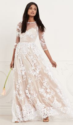 SHEER EMBROIDERED GOWN LURELLY