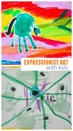 easy art activity for kids of all ages- expressionist hand print art - franz marc blue horse