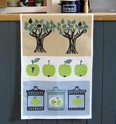 Scandinavian Almedahls tea towel apple tree print