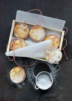 Frangipane mince pies from Richard Bertinet's book Pastry. Richard had never seen anything like mince pies when he was growing up in France, but he absolutely loves them. His only complaint is that they are often made with too much pastry in relation to the filling, so one Christmas he experimented with covering the pies instead with frangipane (almond cream) flavoured with rum and topped with flaked almonds. http://thehappyfoodie.co.uk/recipes/frangipane-mince-pies