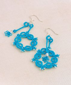 Ocean Teal Lace Earrings with moving pendulum design, made with handdyed cotton thread & Silver LIned Czech Glass. Lace Earrings, Lace Jewelry, Crochet Earrings, Unique Jewelry, Jewellery, Elite Socks, Cotton Thread, Czech Glass Beads, Beautiful Earrings