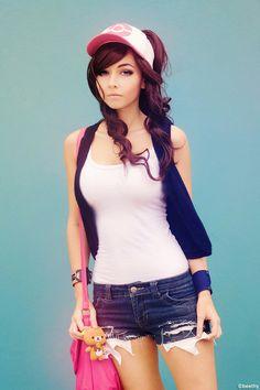 Cute girl pokemon trainer cosplay