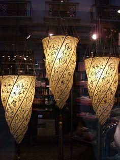 Vintage Fortuny Venetian Hand Painted Silk 2 Tier Ceiling