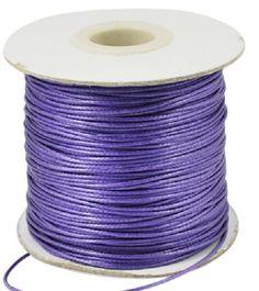 fil cordon coton ciré 1mm 50 mètres violet basique pour macramé ou bracelets