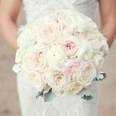 Perfect .  Add pearls, some rose gold accents and wintry greens.  I am in love.  Blush and Ivory Rose Bridal Bouquet.
