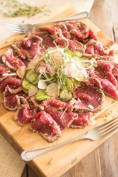 Beef Tataki- looks so yum! Only takes a quick blaze in the pan then a few hours in a marinade.
