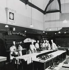 /\ /\ . Kitchen staff at Windsor Castle, c.1950
