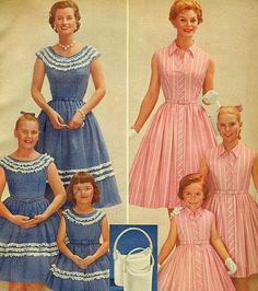 Like mother, like daughters    From Sears Summer Sale Book, 1959