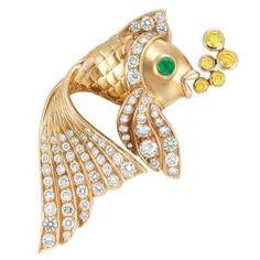 Gold, Diamond, Yellow Diamond and Cabochon Emerald Fish Brooch by nadine