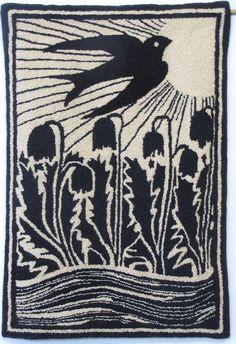 "Hand-hooked rug  ""Blackbird"""