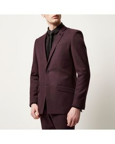 Shop our new Burgundy skinny suit jacket at River Island today. Dark Red Suit, Red Waistcoat, River Island Mens, Skinny Suits, Mens Suits, Style Guides, Contrast, Burgundy, Suit Jacket
