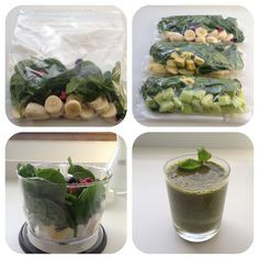 DIY smoothie bags to put in the freezer :) put in the blender in the morning, add a little bit of water, et voila! Fresh green smoothie #smooties #food