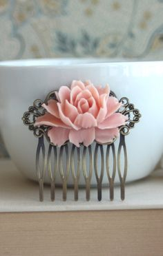 A Large Soft Blush Pink Flower Hair Comb