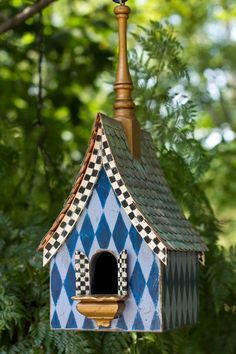 Birdhouse from Regal Roosts. Decorative Bird Houses, Bird Houses Painted, Painted Birdhouses, Rustic Birdhouses, Bird House Feeder, Bird Feeders, Mackenzie Childs Inspired, Bird Cages, Mckenzie And Childs