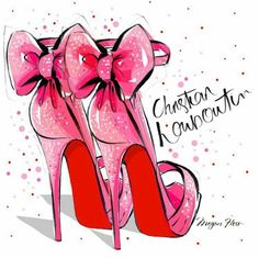 Christian Louboutin Illustration. PINKAHOLIC GOLD : FOLLOWING APRIL