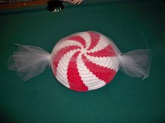 tapestry crochet peppermint pillow in wrapper by G's Crafts n' things, via Flickr
