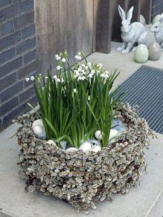 Coole Osterdeko basteln blumen frühling nest blüten