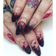 inspo nails for halloween 💙 via Halloween Nail Designs, Diy Nail Designs, Halloween Nail Art, Halloween Inspo, Witchy Nails, Scary Nails, Punk Nails, Cute Nail Art, Beautiful Nail Designs