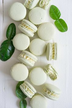 Kaffir Lime Macaron - a shell filled with a delicately infused kaffir lime german buttercream Cupcakes, Macaron Template, Cookie Recipes, Dessert Recipes, Macaroon Cookies, Macaroon Recipes, Kaffir Lime, Meringue, Food Processor Recipes