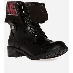 Plaid Fold Over Combat  Boots ($25) ❤ liked on Polyvore featuring shoes, boots, ankle booties, sapatos, black, black leather lace up boots, black booties, black leather lace up booties, army boots and faux-fur boots