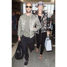@JasonStatham and @RosieHW spotted at LAX yesterday in coordinating PAIGE | Baxter Jogger in Black Gravel, Verdugo in Black Shadow #LIVEINIT