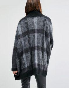 Religion   Religion Luxury Drapey Cardigan In Check Knit