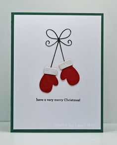 Laurie's Stampin Place: Red mittens - My WordPress Website Christmas Card Crafts, Homemade Christmas Cards, Christmas Cards To Make, Homemade Cards, Diy Holiday Cards, Christmas Card Decorations, Christmas Cards Handmade Kids, Christmas Ornaments, Chrismas Cards