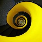 Black and yellow spiral stairs