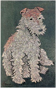 hanga gallery . . . torii gallery: Young Dog by Shiro Kasamatsu