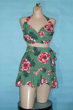 Vintage 40s bathing suit 1940s GREEN RED by AquaVelvetVintage, $223.00